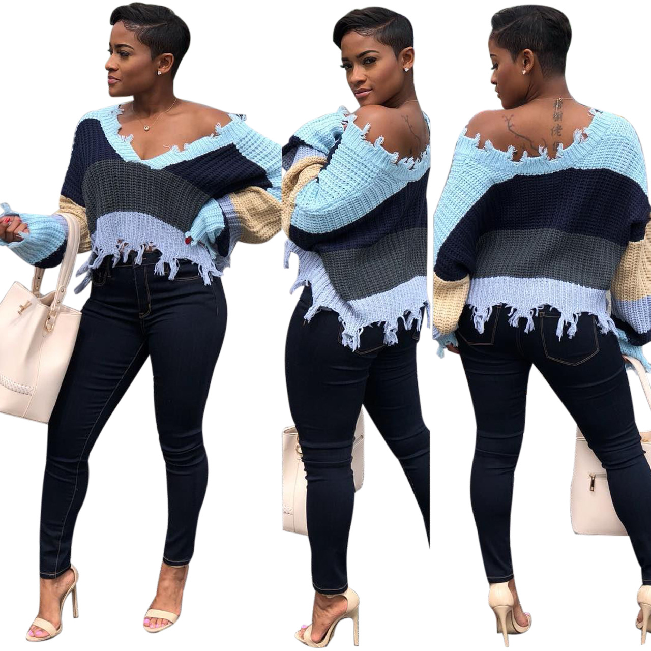 2019 Autumn And Winter Women's Off Shoulder Casual V Neck Batwing Sleeve Sheer Loose Oversized Pullover Sweater High Low Knitted Jumper