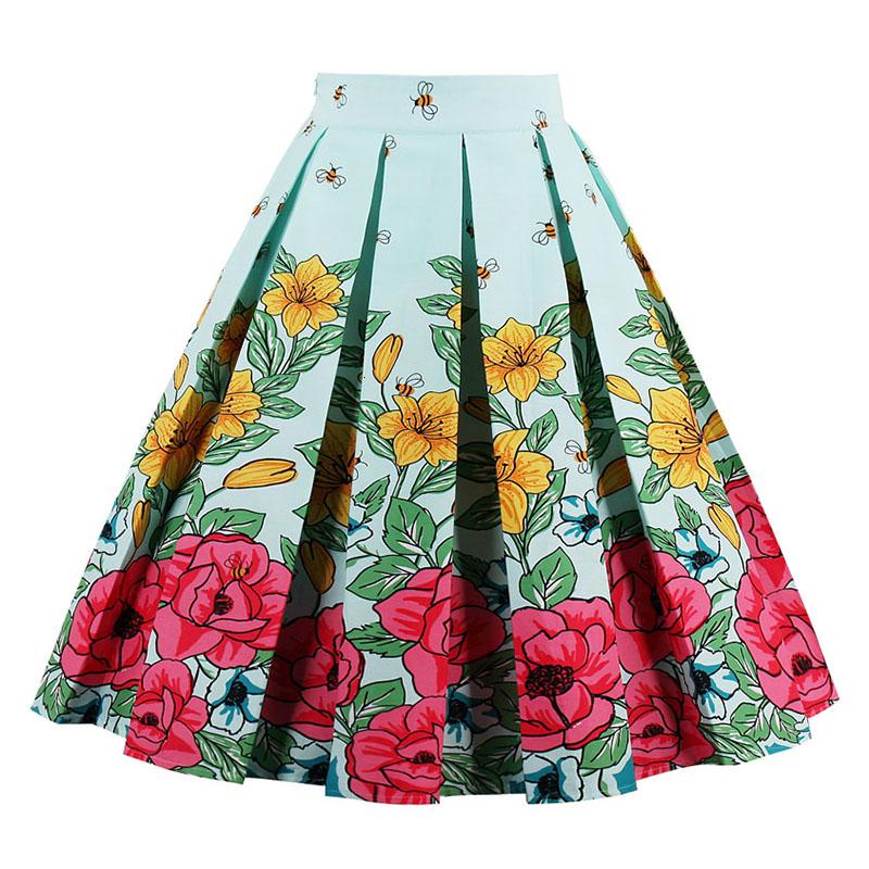 Kostlish Retro Print Flower Summer Skirts Womens High Waist Vintage Skirt Elegant A-Line Midi Women Skirt Plus Size XXL 22 (10)