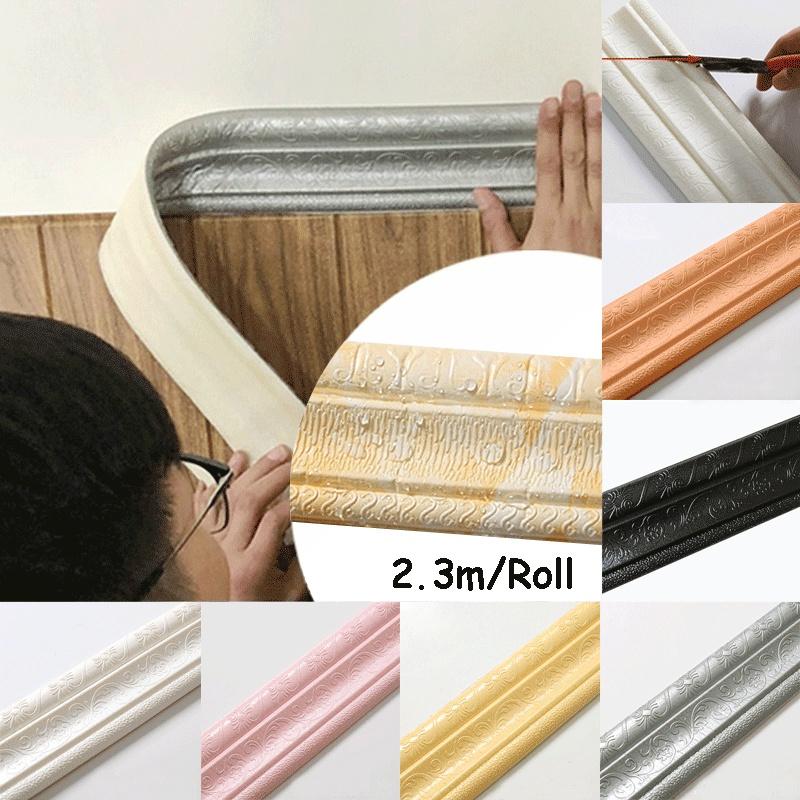 2.3M Plinthe Bordure Stickers Autocollant Imperméable 3D Papier Peint Décor