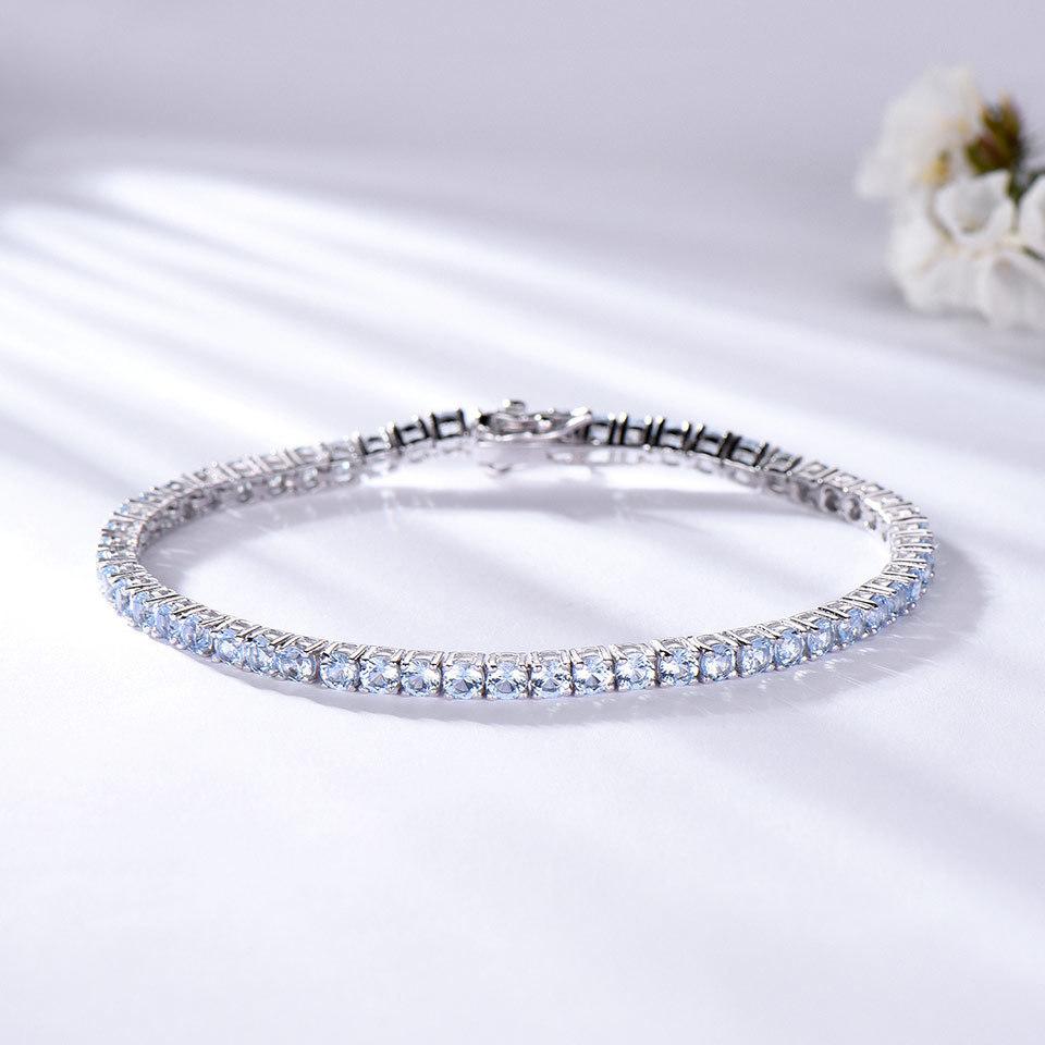 925 Sterling Silver sky blue topaz bracelet for women (2)
