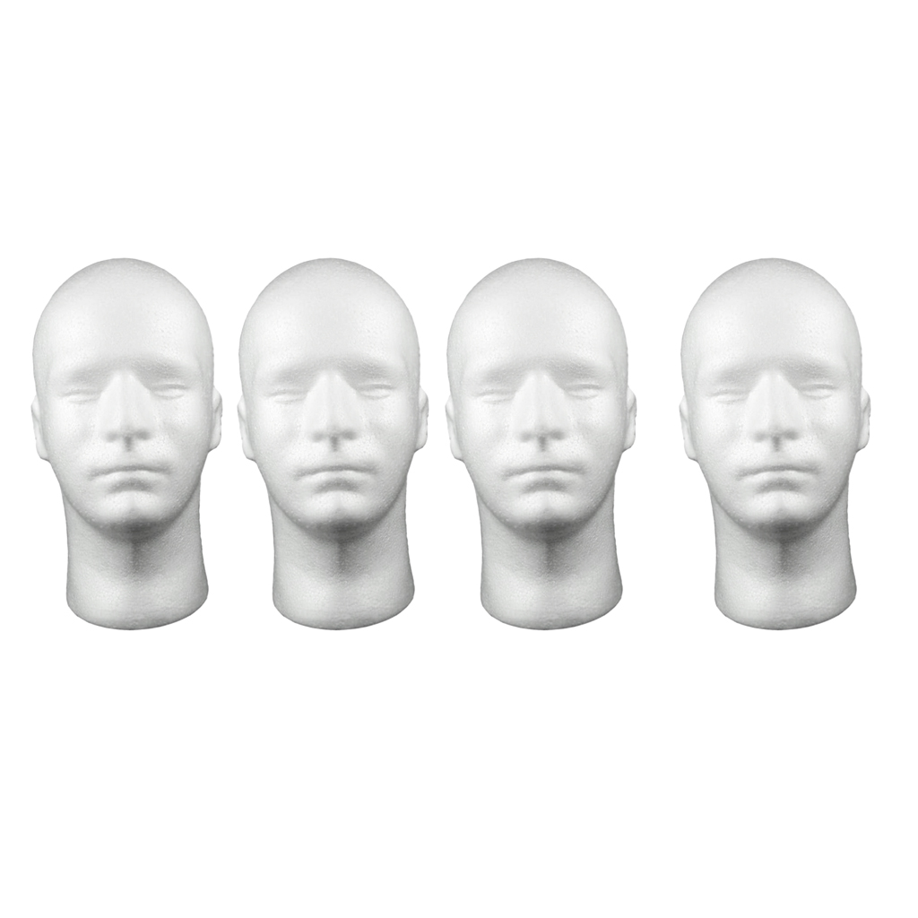 Aland Male Wig Display Mannequin Head Stand Model Styrofoam Pro Female Plastic Abstract Mannequin Manikin Head Model Wig Hair Display Stand White