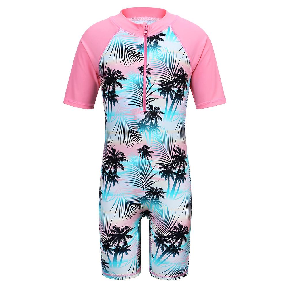 PCLOUD Girls Zipper Rash Guard Short Sleeve One Piece Swimsuit Cute Cartoon Swimswear M