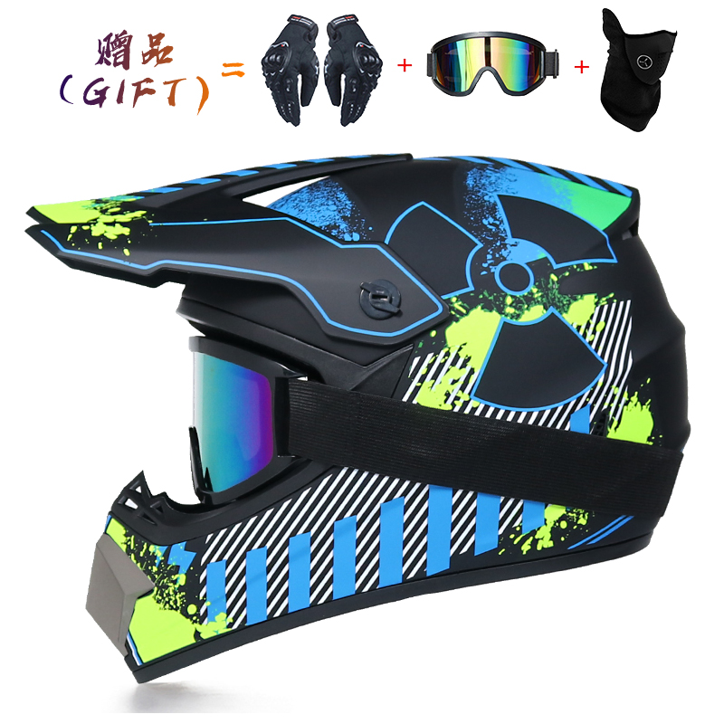 Unisex Motorcycle Helmets Full Face Helmet 4 PCS Motocross Helmet S, M, L, XL D.O.T Certification with Gifts Goggles Mask Gloves Adult Off Road Helmets Kit