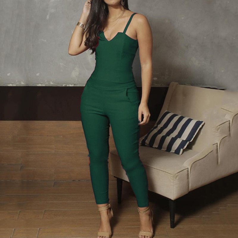 Women Spaghetti Strap V-cut Slinky Jumpsuits Ladies Solid Color Casual One Piece Romper Eletant Jumpsuit Overalls Y19051601