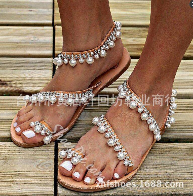 Ma'am Will Woman Code Manual A String Of Beads Set Toe Flat Bottom Honor2019 Sandals