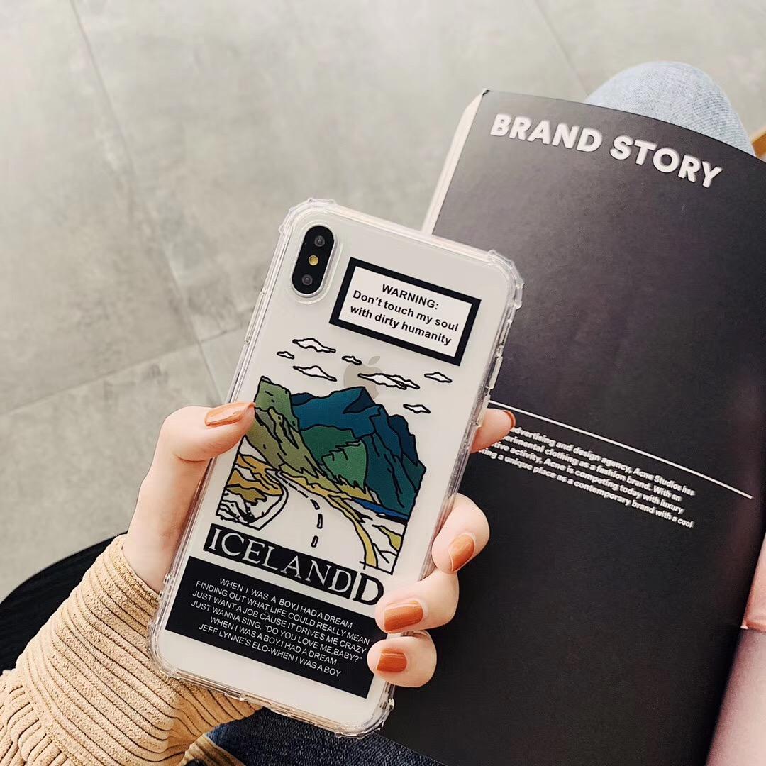 INS europa paisagem montanha design casal texto phone case para iphone xs max xr xs 6 6 s 7 8 plus clear tpu macio tampa traseira