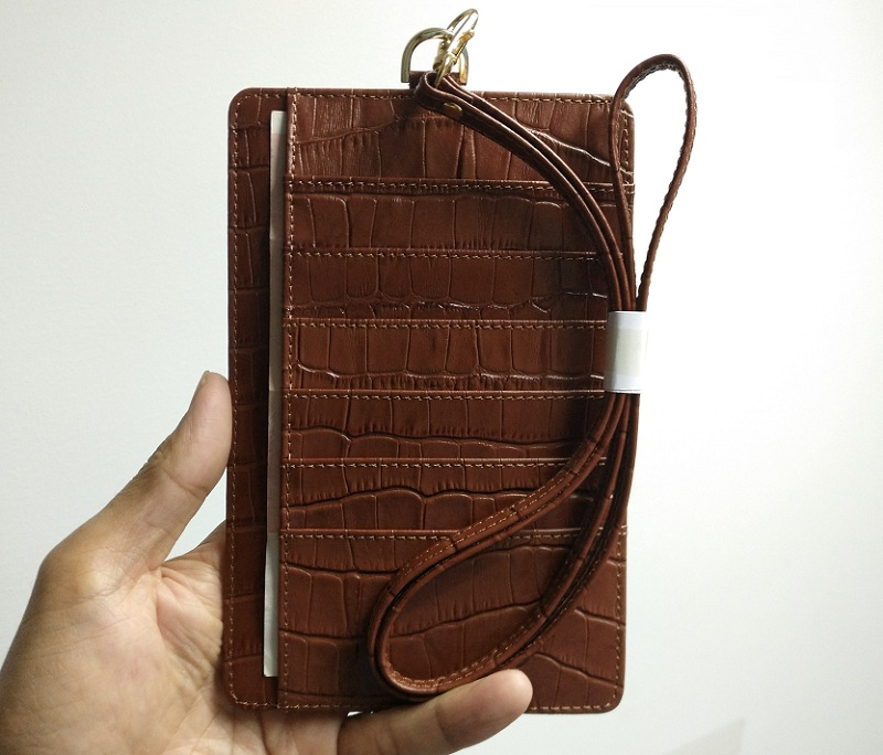 brown card holder leather strap pouch case for iPhone x xs max 7 8 6 plus