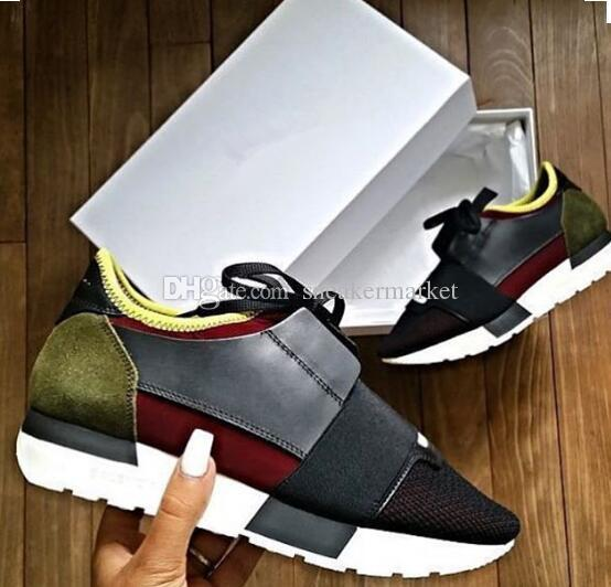 Name Brand Kanye West Race Runner Casual Shoe Man Woman New Designer Army Green Low Cut Mesh Trainer Shoes Cheap Sneaker Size 35-46