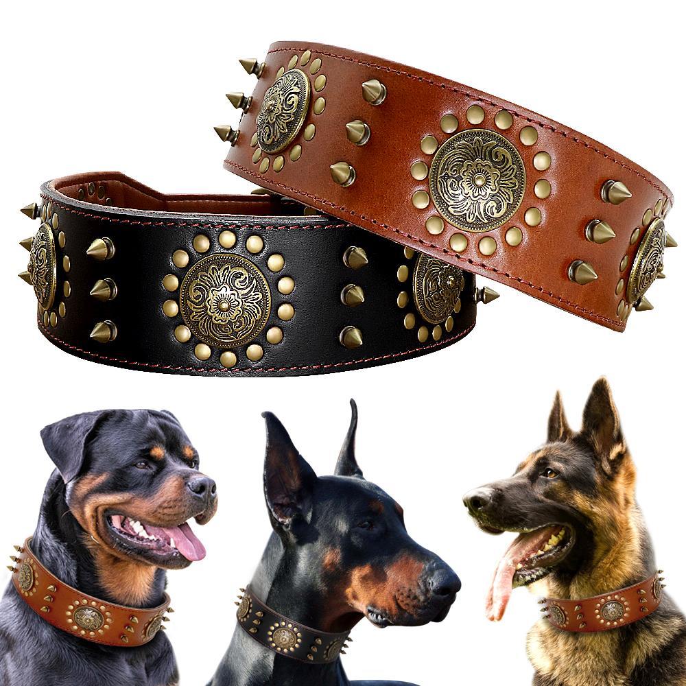 Collar de perro de para perros grandes picos de cuero collar con clavos perros fresco Mascota Collar Para