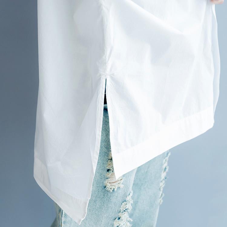 # 5742 Весна Повседневная Летучая мышь с Длинным Рукавом Рубашка Женщины Печатный Длинная Белая Блузка Рубашка Хлопок Плюс Размер Свободные Старинные Туника Сплит Y19062501
