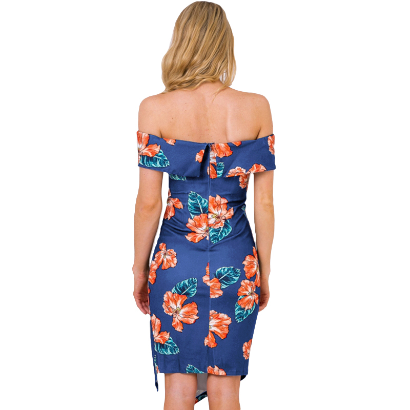 2019 New Sexy Women Off The Shoulder Dress Floral Print Side Split Slim Bodycon Midi Dress Summer Club Party Elegant Dresses