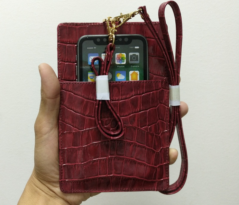 maroon leather card holder strap pouch bag case