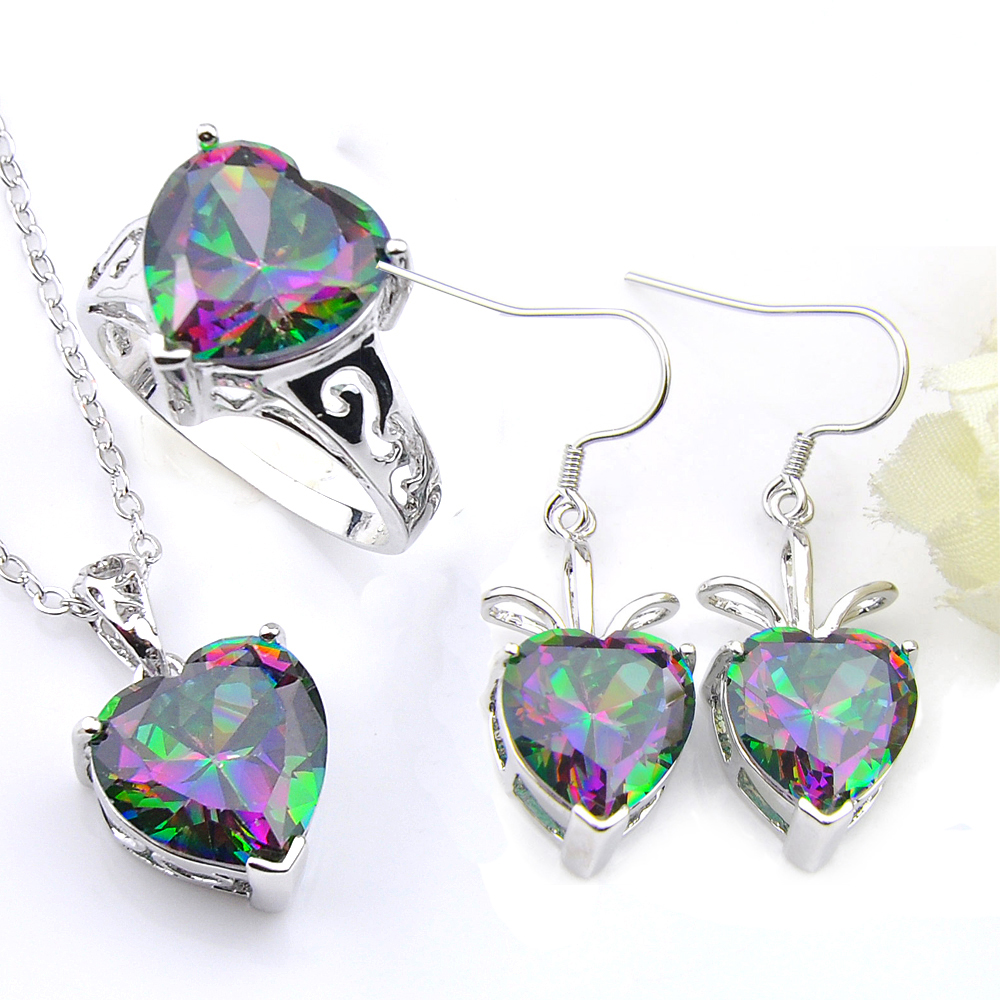 Fashion Silver Round Mystic rainbow Topaz Longue Goutte//Dangle Crochet Boucles D/'oreilles Bijoux