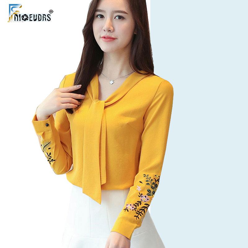 2020 Femmes Mode manches longues Bureau élégant travail Chemisier blanc Chemises coréenne style jaune broderie Imprimé Bow Tie Top A108