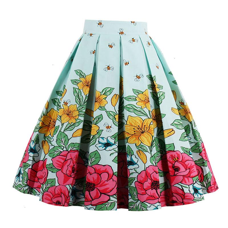Kostlish Retro Print Flower Summer Skirts Womens High Waist Vintage Skirt Elegant A-Line Midi Women Skirt Plus Size XXL 22 (11)