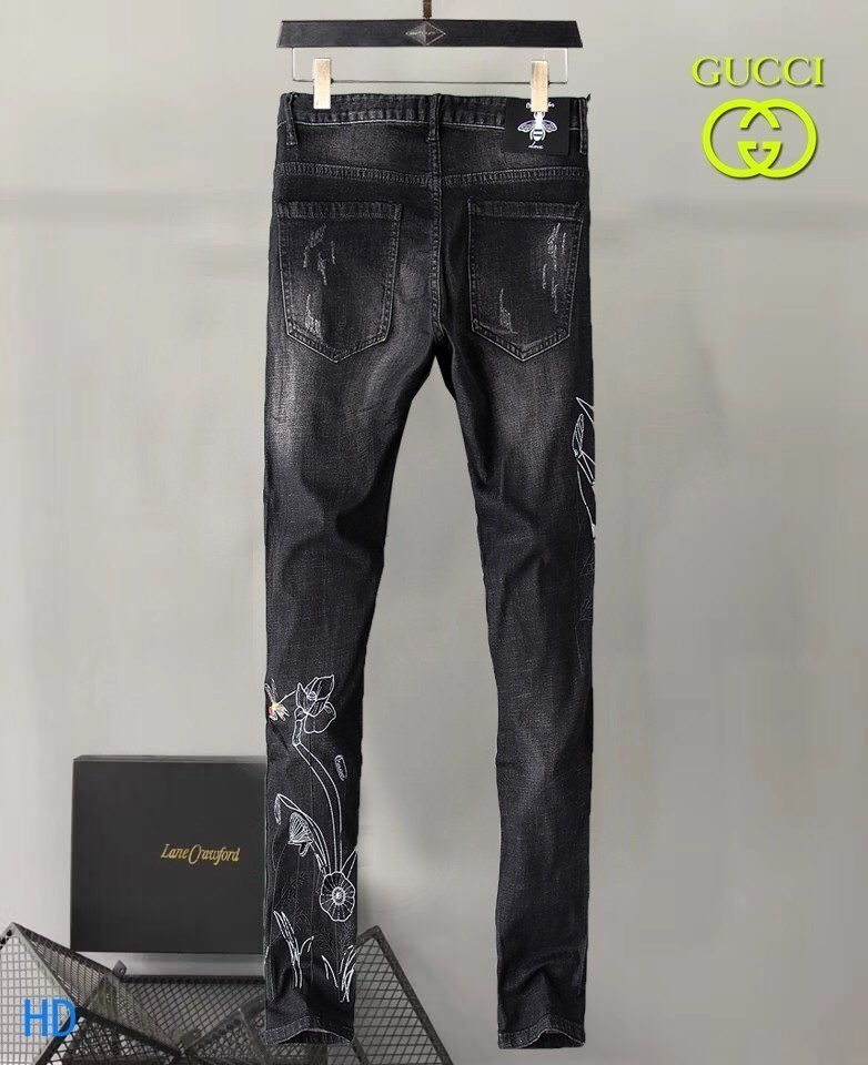 Best 2019 New Fashion Design For Men High Quality And Exquisite Korean Edition Jeans Embroidery Slim Casual Small Straight Foot Trousers 7q
