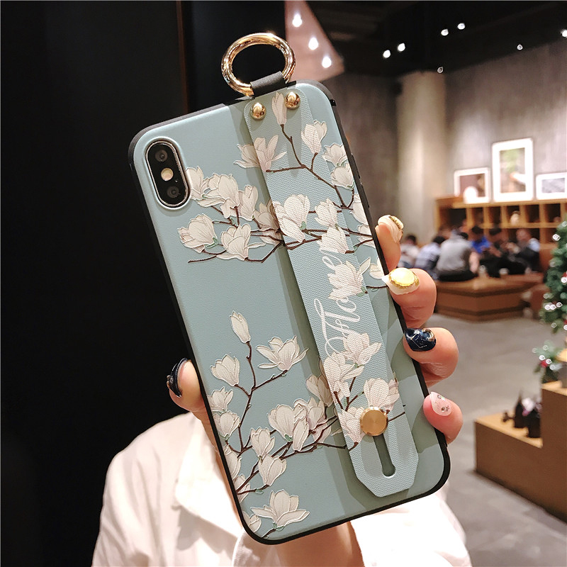 11 SoCouple Wrist Strap Phone Cases For iPhone 7 Flower Case For iPhone 6 6S 7 8 Plus X XS Max XR Matte Soft Silicone Back Cover