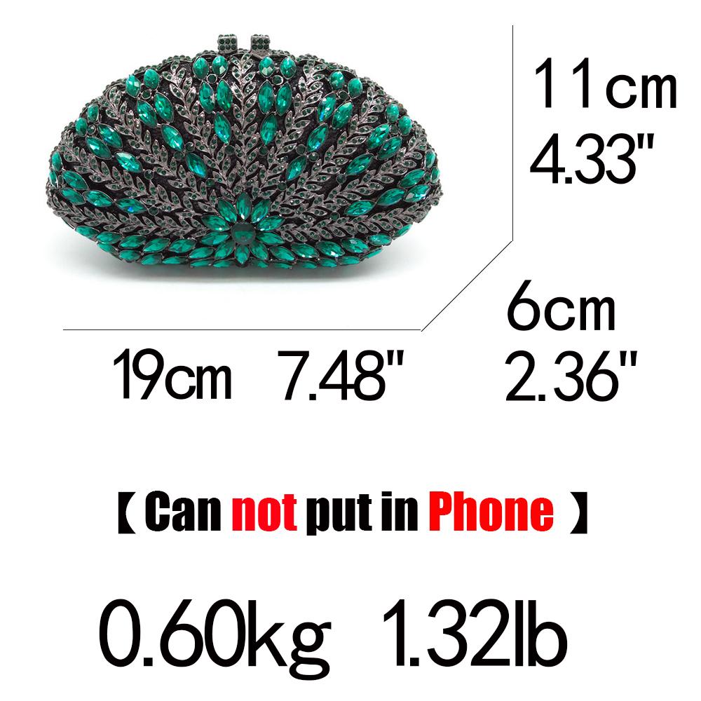 Boutique De Fgg Hollow Out Floral Women Green Emerald Diamond Evening Handbags Purses Ladies Party Crystal Clutch Wedding Bag Y190626