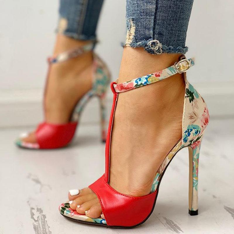 SWQZVT New thin heels women fish mouth open toe summer sexy party pumps women shoes 2020 fashion print vintage ladies sandals (2)