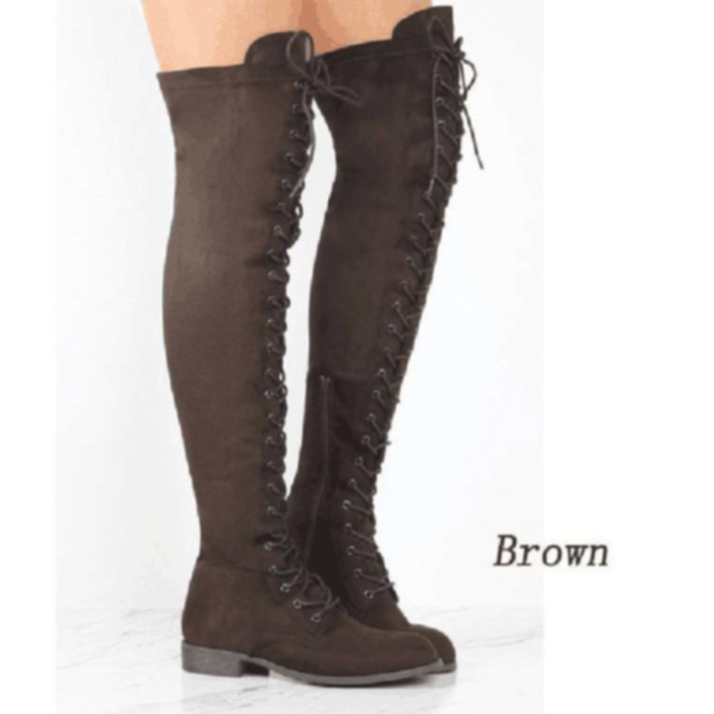 New Designer Womens Square Low Heel Riding Motorcycle Heel Knee High Boots Punk Gothic Platform Lace Up Shoes Size 35-43 786