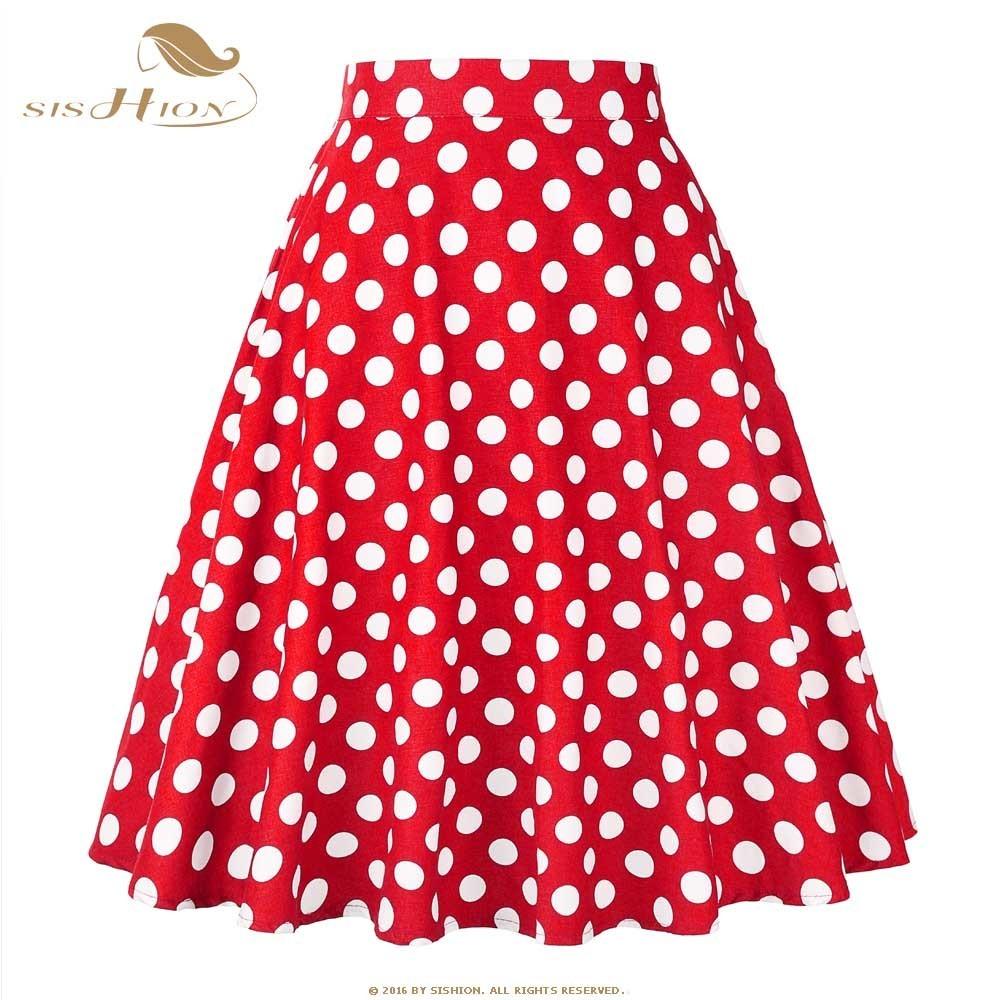 Sishion Women Skirt Blue Red Black White Polka Dot High Waist Vintage Skater Faldas Mujer Plus Size School Short Skirt Vd0020 J190625
