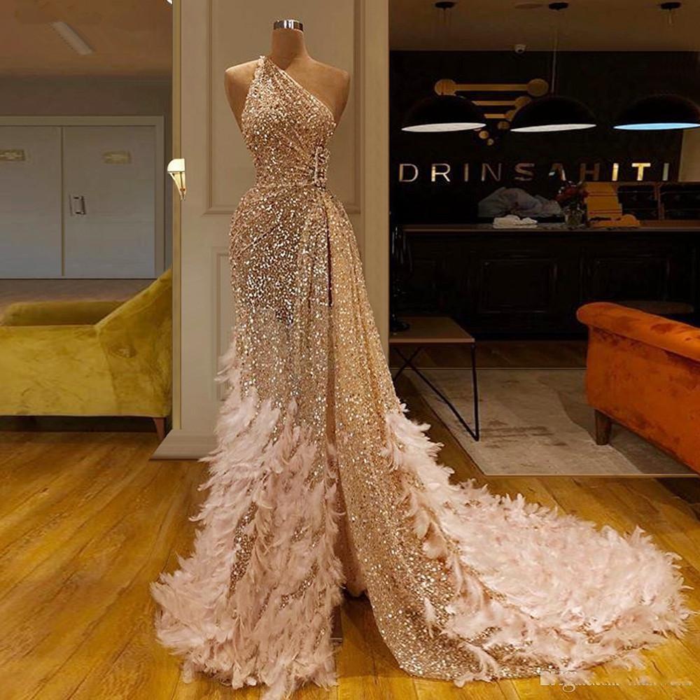 prickelnde champagner pailletten türkischen ballkleider 2019 muslim eine  schulter-feder-abend-kleid lange vestidos de fiesta frauen-partei-kleid