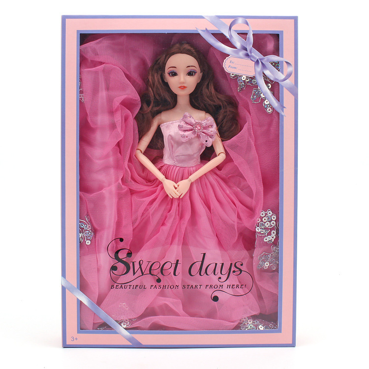 Barbie Doll Pink Colour Bone Rope Will Wedding Dress Suit Gift Box A Doll Clothes Girl House Toys