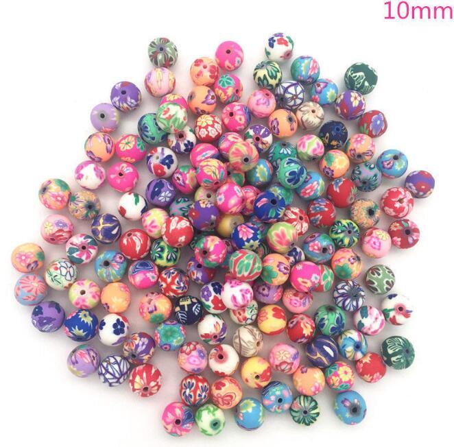 Fruits Mélangés Perles Coloré Charms Bijoux spacer Argile Polymère Accessoire 100 pcs