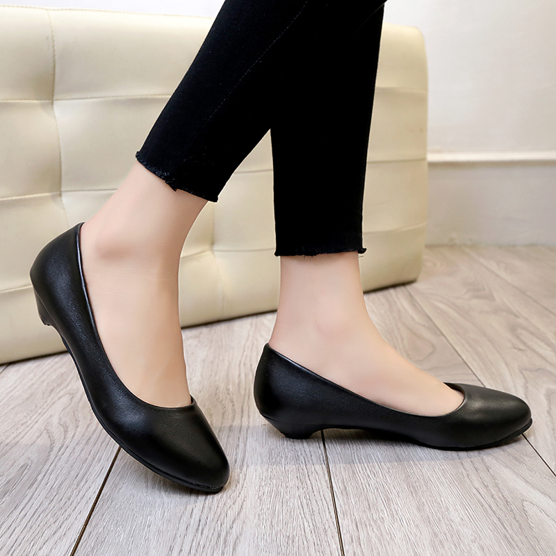 Dress Shoes Spring Autumn Womens Wedding Low Heels For Woman Boat Leather Black Slip On Zapatos Mujer 6153