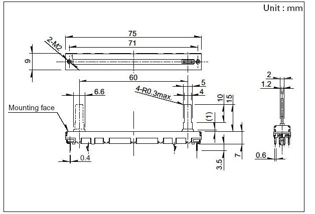 5PCS Dual Doble 75mm Recto diapositiva Potenciómetro B103 B10K fader mezclador