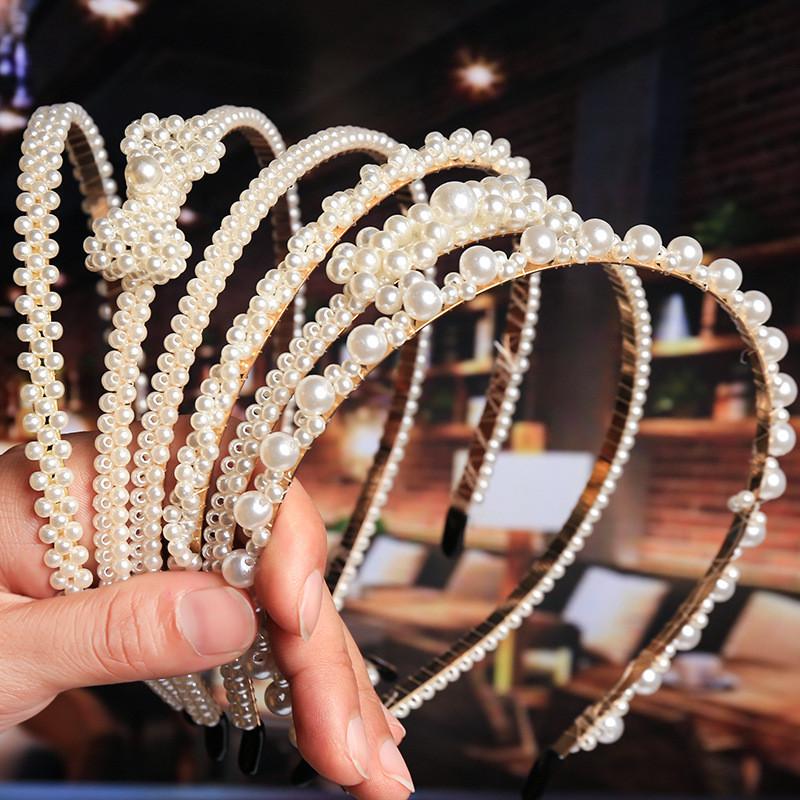 Les Femmes Conque Hairband Pierre Perles Bandeau Perle cheveux bande de cheveux Hoop Parti Holder