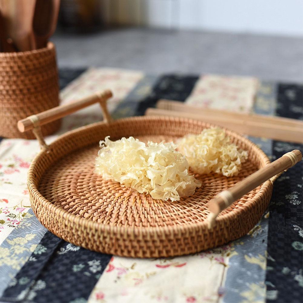 Rangement Petit Dejeuner Cuisine petit déjeuner maison décoratif ronde tissé à la main pain fruit plateau de  rangement de cuisine coupe snack afficher panier