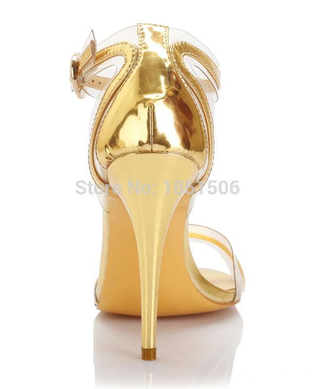 Wed2019 Transparent Sandals Help Golden Patent Leather Fasciola High-heeled Shoes Size Complete