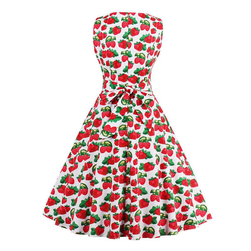 Kostlish 9 Style Print Summer Dress Women 2017 Sleeveless Swing 1950s Hepburn Vintage Tunic Dress Elegant Party Dresses Sundress (23)