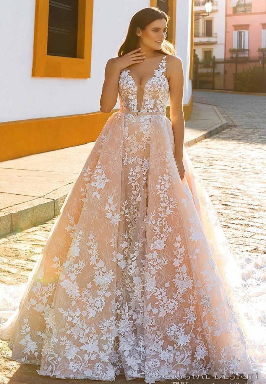 A-Line Crystal Design Brautkleider Ärmel Straps Tief Tiefer Voll  Verschönerung Blush Farbe Brautkleider Sheer Zurück Royal Train