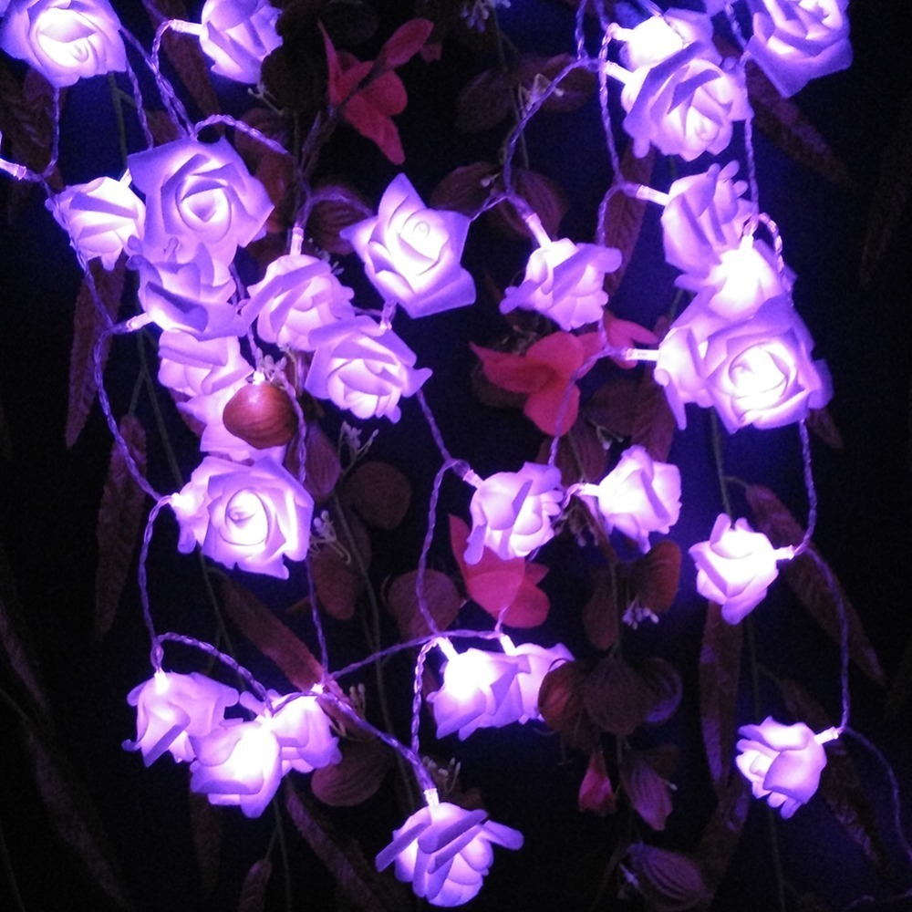 LED Rose String Fairy Lights Battery Operated Flower Wedding Party Decoration Lights Lamp (5)