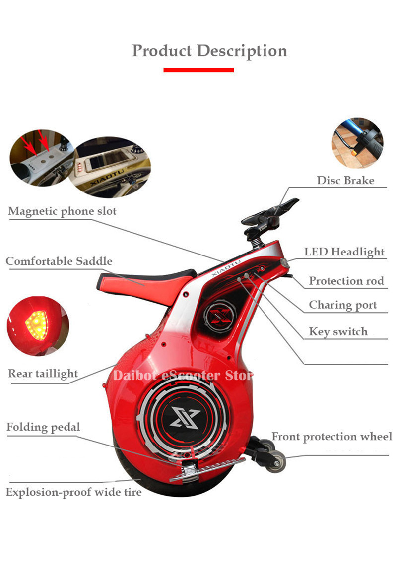 Powerful Electric Scooter One Wheel Self Balancing Scooters 19 Inch Motorcycle 800W 60V Electric Unicycle Scooter With APP (3)