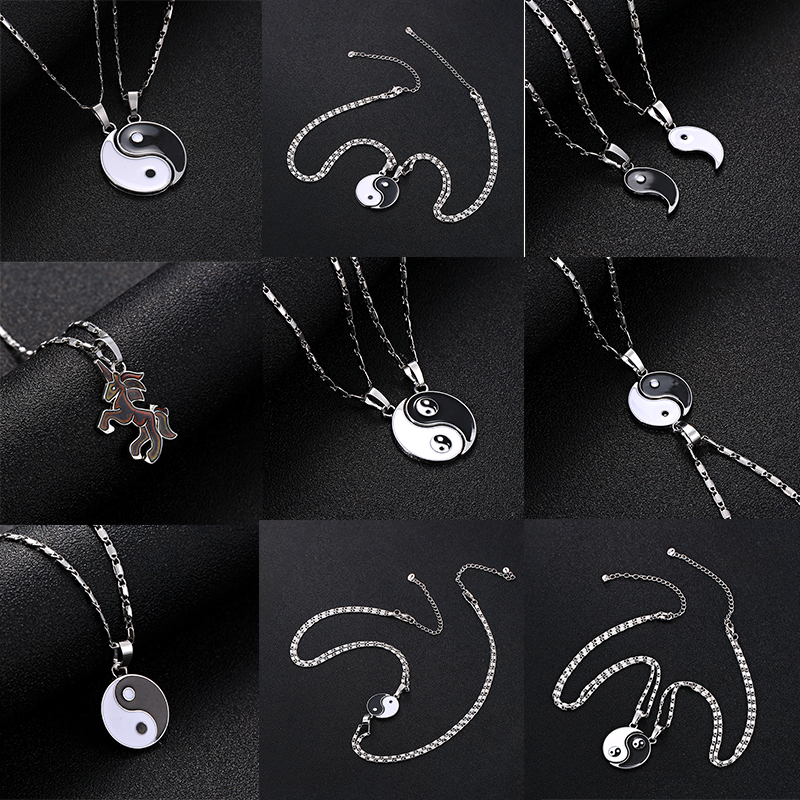 NEW Yin Yang Pendant Silver Charm Black Necklace Choker Chain Tattoo Jewelry