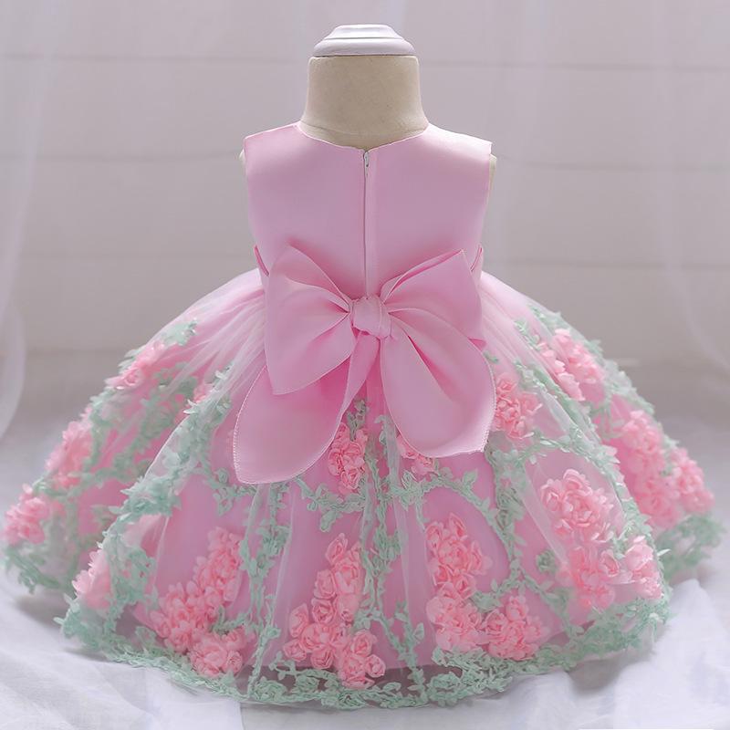 Großhandel Blumenmädchen Hochzeitskleid Baby Mädchen Taufe Kuchen Kleider Für Party Anlass Kinder 1 Jahr Baby Mädchen Geburtstag Kleid Y19061101 Von