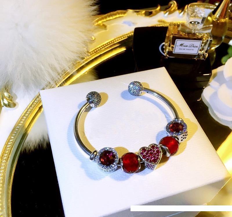 Murano vidrio beads rosa rojo Murano beads rosa rojo elemento 925 plata bead vaina