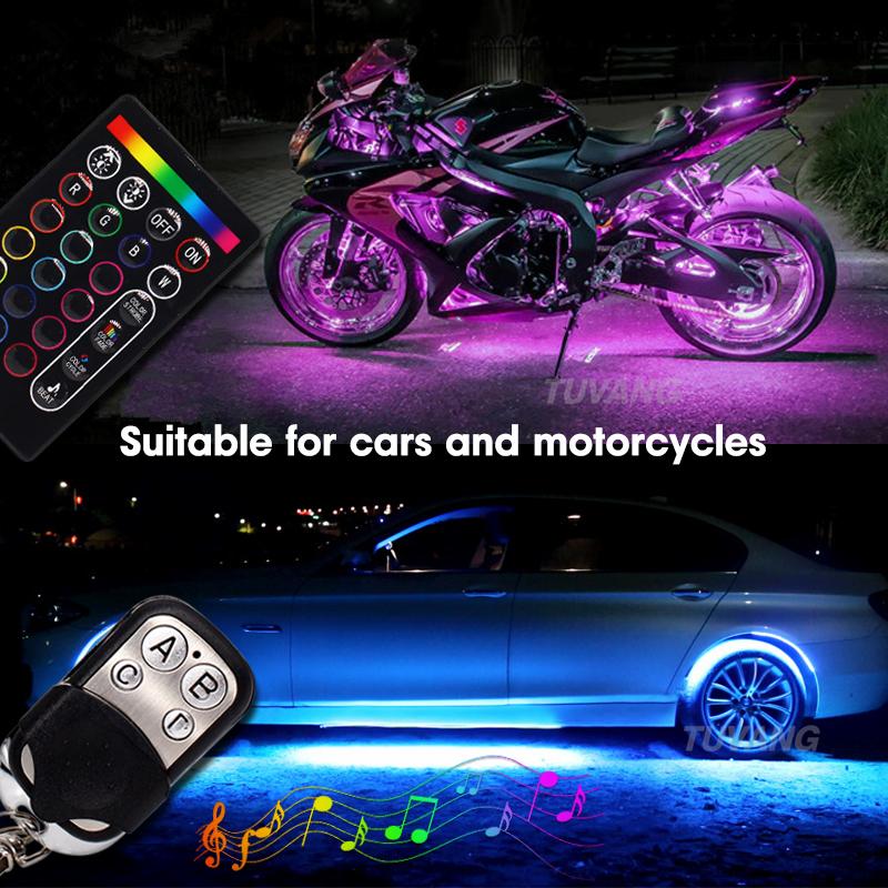 Moto sottoscocca RGB Light Kit Car Led strisce Multi-Color Accent al neon di incandescenza luci lampeggianti Lampada con telecomando wireless