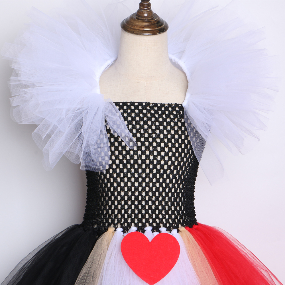 Black Red Queen Of Hearts Tutu Alice In Wonderland Halloween Cosplay Costume For Girls Kids Birthday Party Dress 2-12 Year J190612
