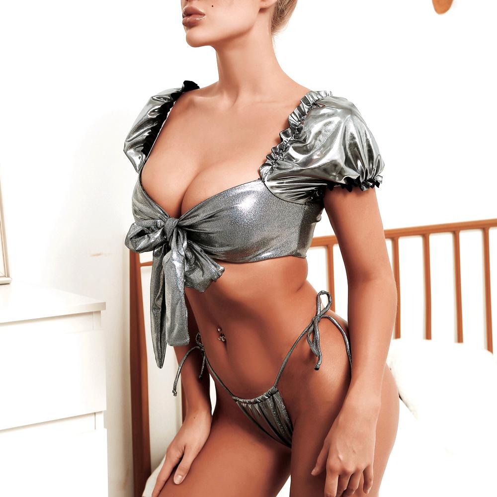 Brazilian string bikini silver metallic swimsuit ladies