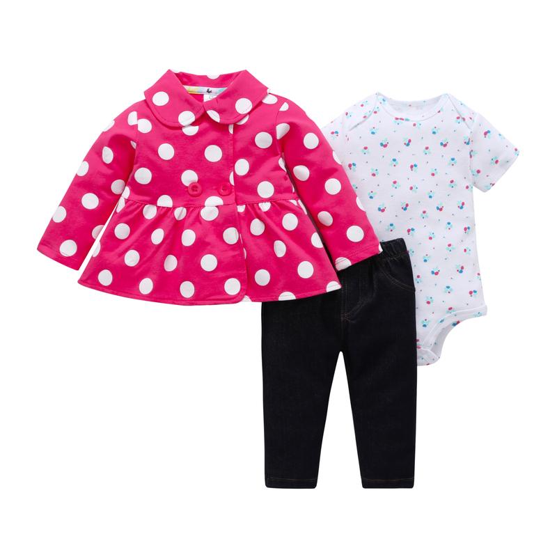 6-24M baby girl outfits long sleeve turn-down collar jacketcoat polka dot print+romper+pants 3PCS newborn baby boy clothing set