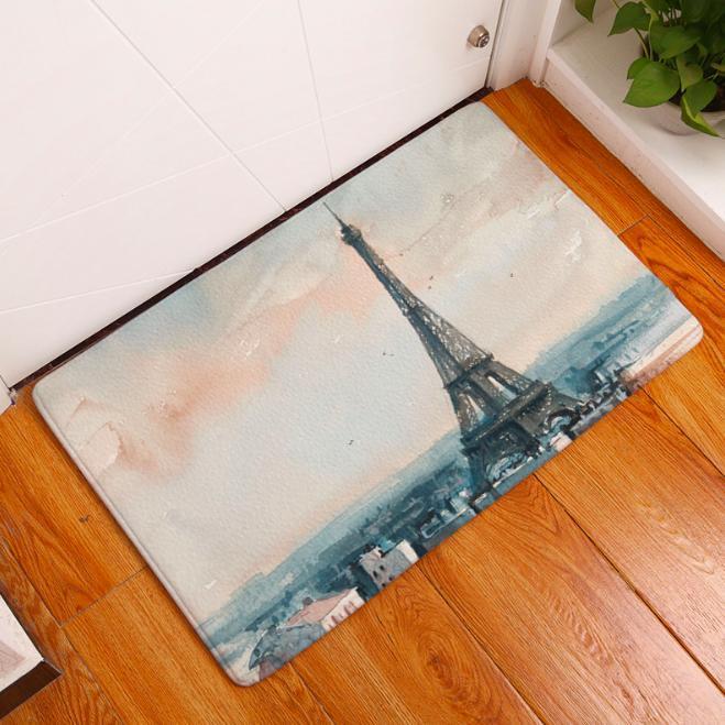 Black /& White Dog Paw Prints Floor Memory Foam Rug Carpet Non-slip Door Bath Mat