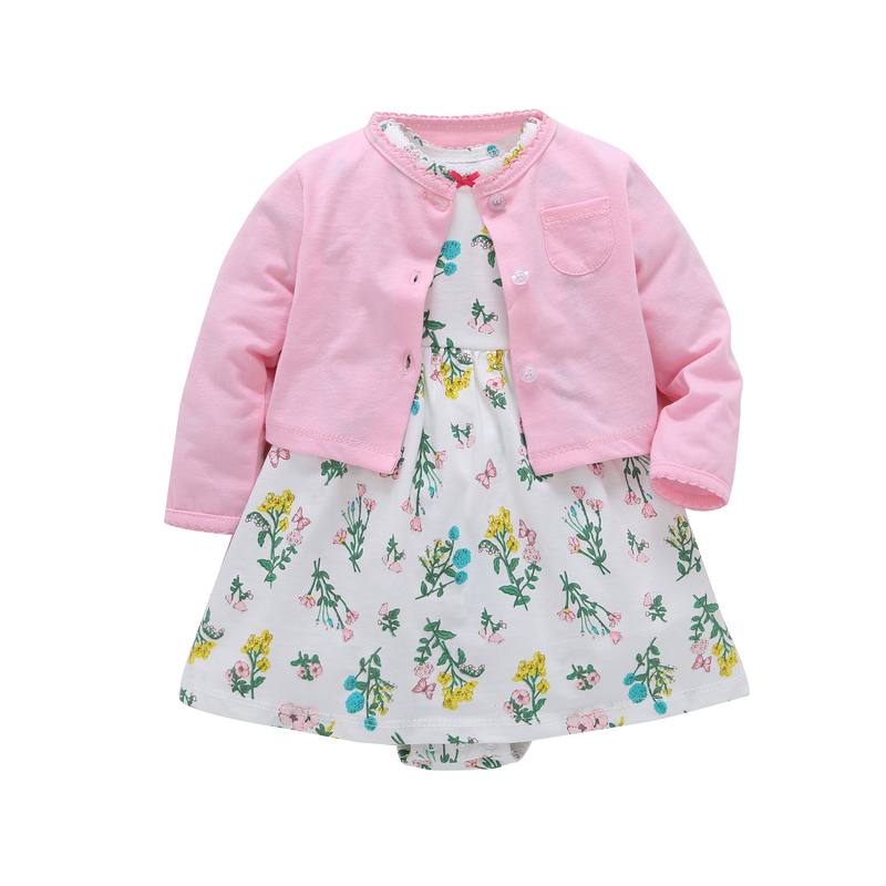 Baby Girl Clothes Floral Summer Dress Set Newborn Outfit Infant Clothing Coat+rompers Suit Cotton Costume 2019 Outfits Fashion Y19061303