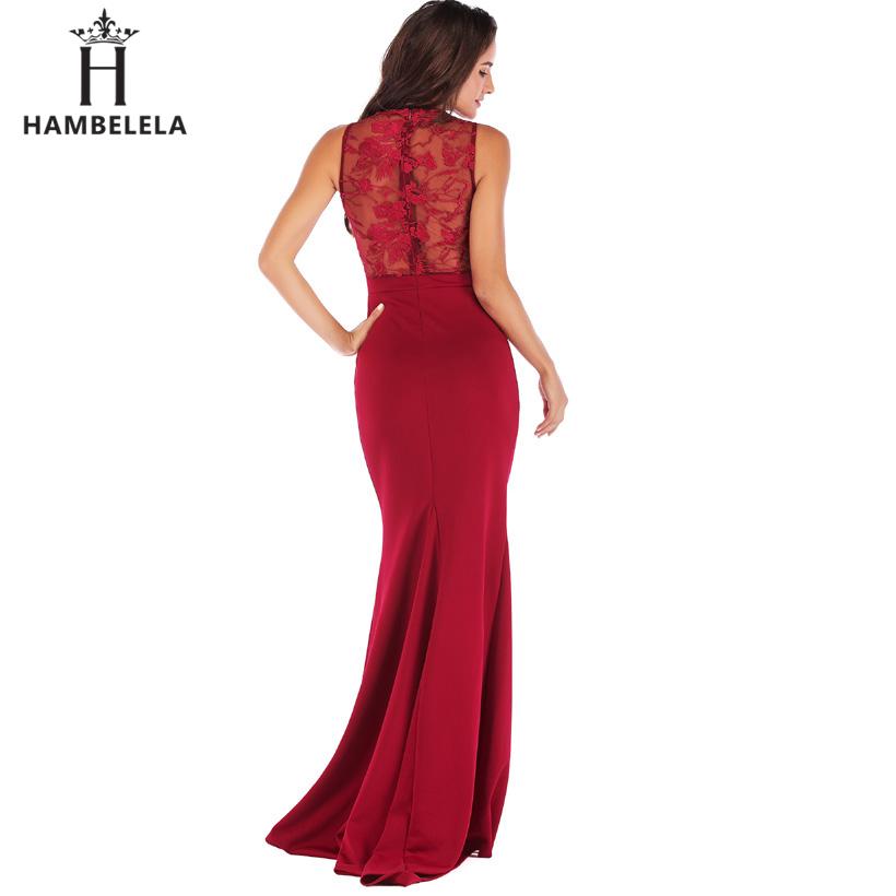 HAMBELELA Long Maxi Backless 2019 Women Dress Summer Evening Party Dresses Sexy O-Neck Elegant Floral Lace Dress Vestidos Longo (4)