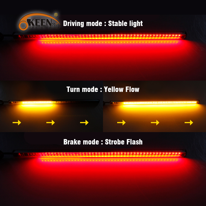 22 cm Parar Freio led Faixa de luz vermelha piscando Âmbar turno do Sinal do carro Sequencial Corrente Switchback Tira lâmpada Fluindo