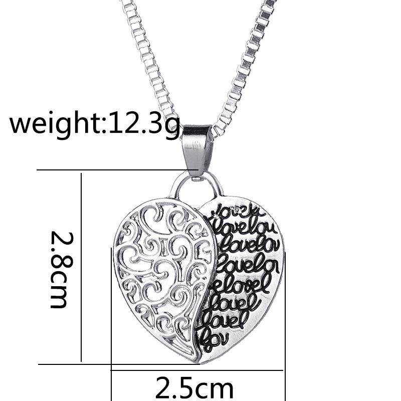 Double Side Letter Mother and Daughter Love Necklace Heart Pendants Women Kids Fashion Inspired Jewelry Gift Drop Shipping