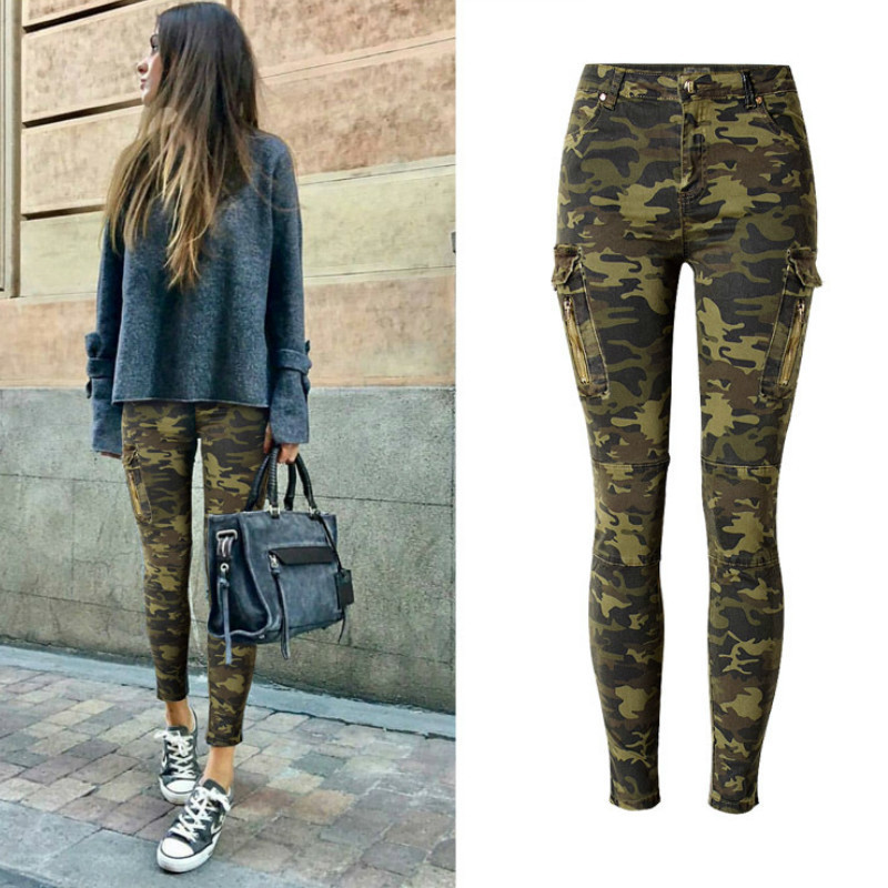 Military Style England Fashion Slim Skinny Jeans Women Camouflage Pockets Vintage Trousers Mujer Push Up Denim Pencil Pants 2018 J190621
